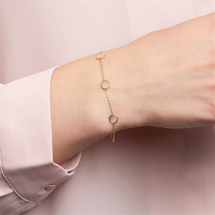 Plättchen Armband für Damen aus 9K Gold