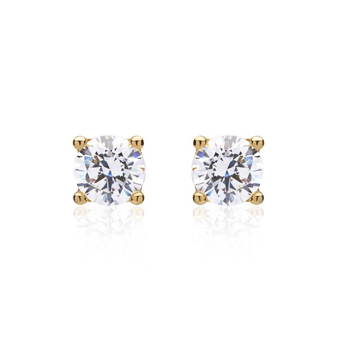 Unique 8ct Yellow Gold Stud Earrings With Zirconia Ge0191