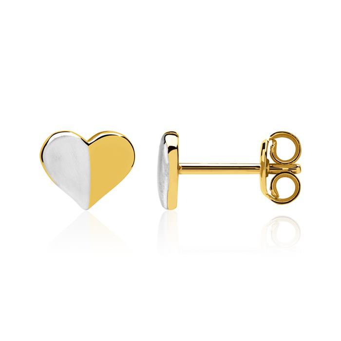 Bicolore Herzohrstecker aus 8K Gold