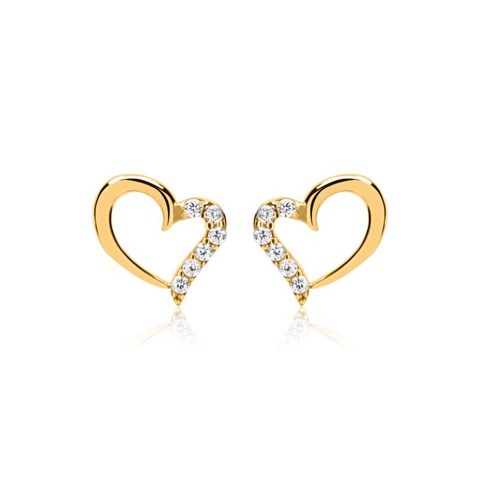 Herzohrstecker aus 8K Gold mit Zirkonia