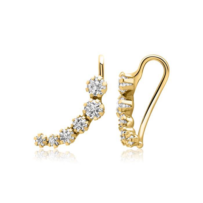Earclimber für Damen aus 9K Gold mit Zirkonia