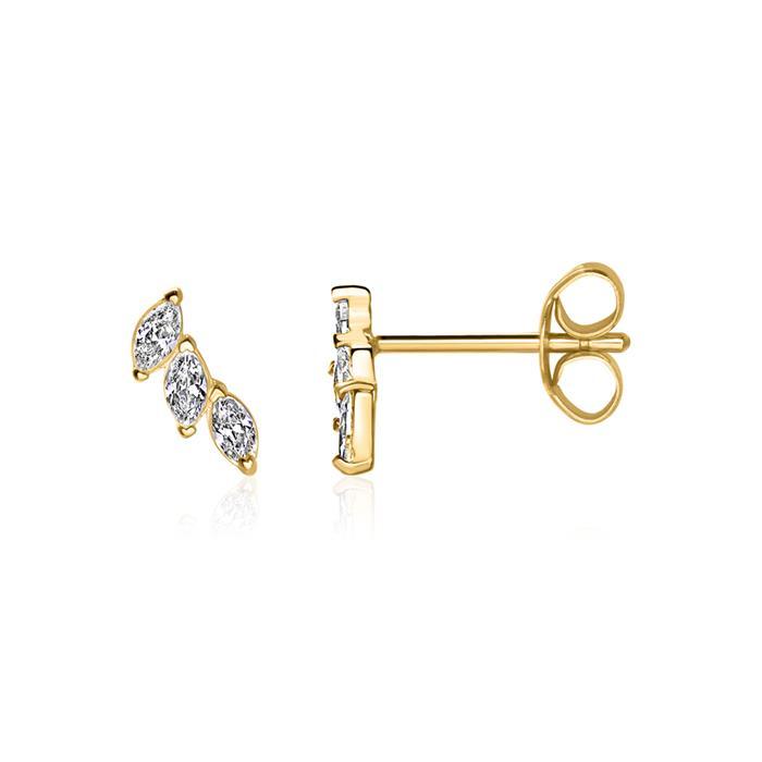 375er Gold Ohrstecker für Damen mit Zirkonia