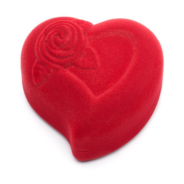 Rotes Geschenketui aus Samt Herz und Rose