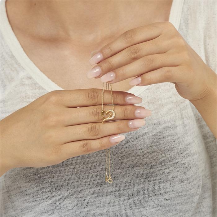 333er Gold Kette mit Herzanhänger Zirkonia