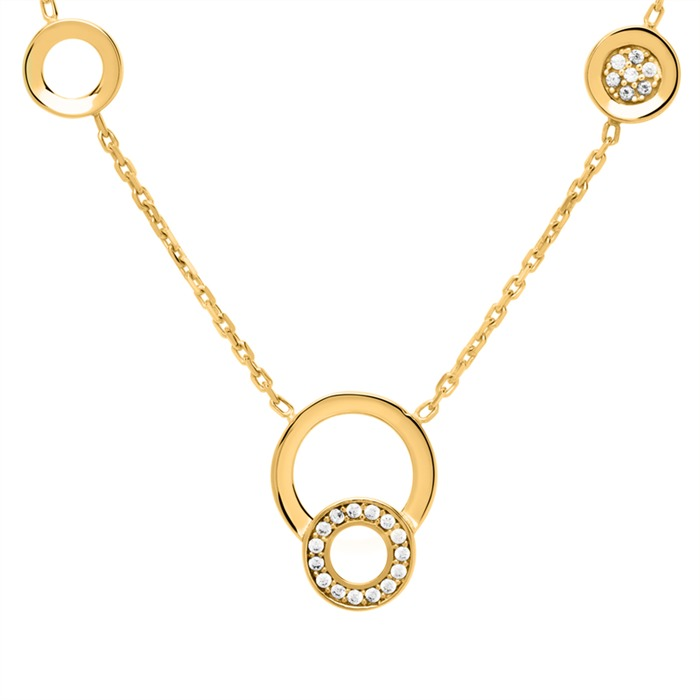 333er Goldkette Kreise mit Zirkoniabesatz