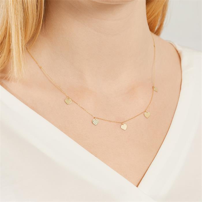 Damen Halskette Herzen aus 9K Gold