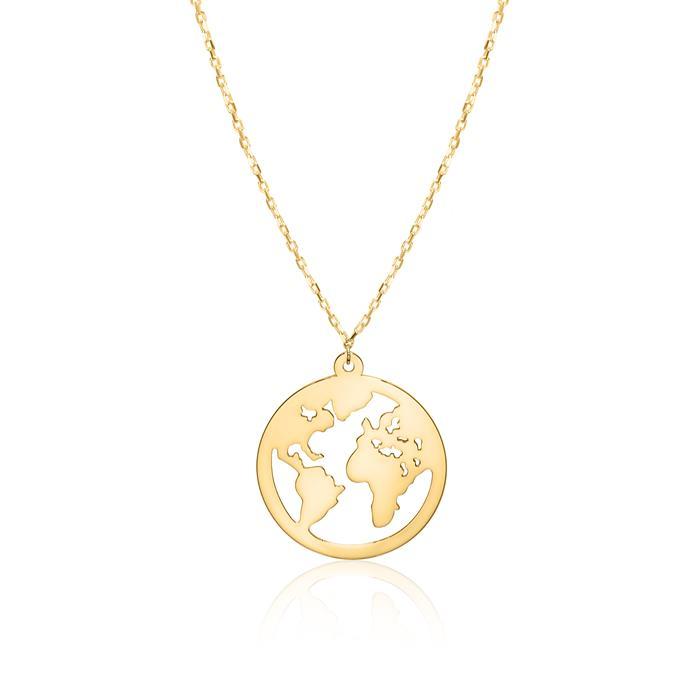 Kette Weltkugel für Damen aus 9K Gold