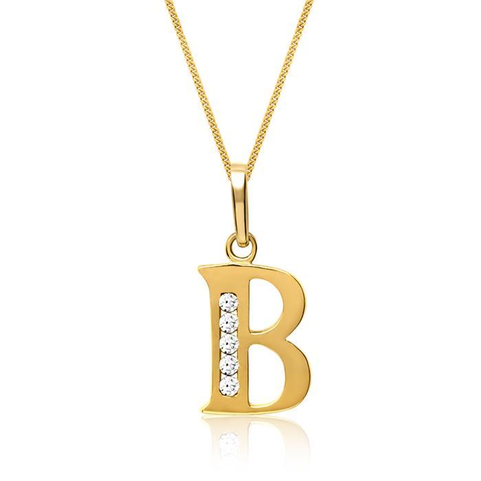 333er Gold Buchstabenanhänger B mit Zirkonia