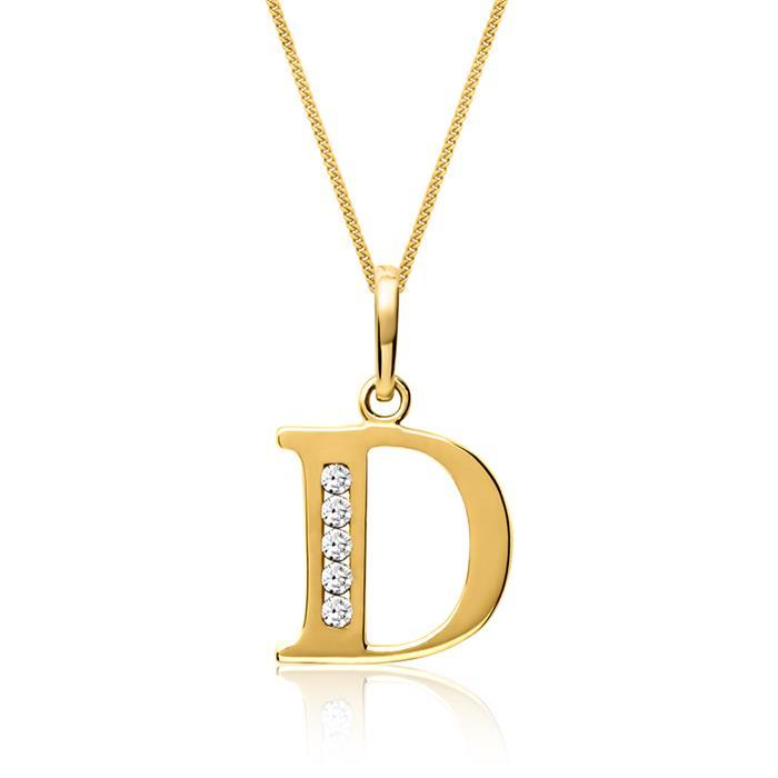 333er Goldkette Buchstabe D mit Zirkonia