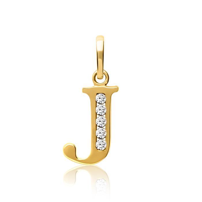 333er Gold Buchstabenanhänger J mit Zirkonia
