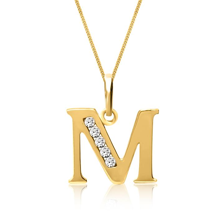 333er Goldkette Buchstabe M mit Zirkonia