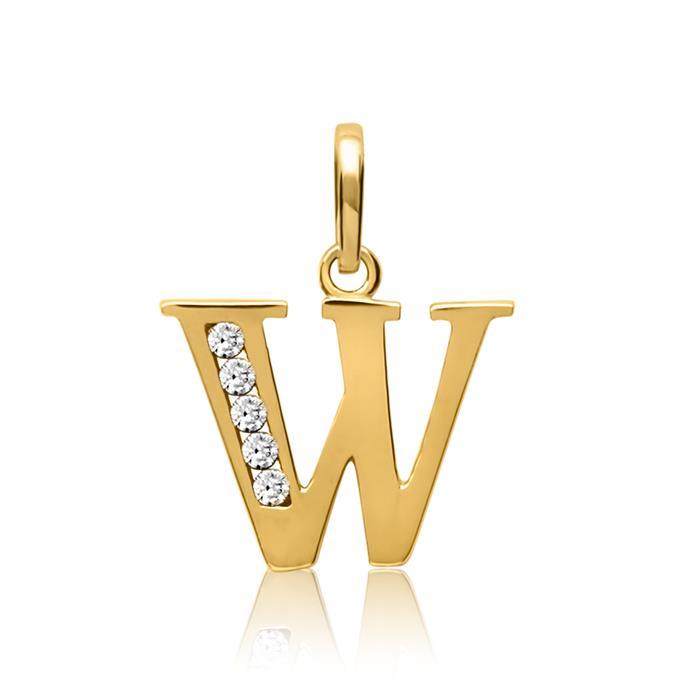 333er Gold Buchstabenanhänger W mit Zirkonia