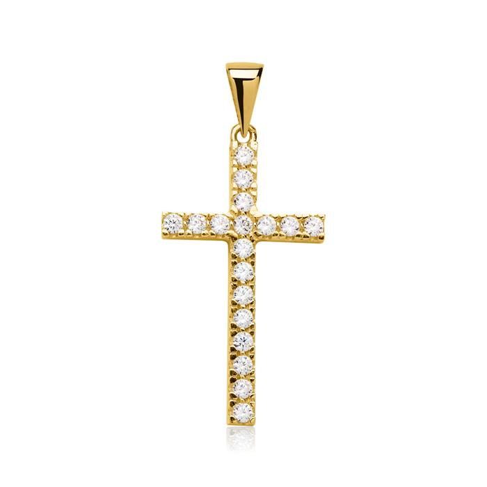 Goldanhänger Kreuzform Zirkonia