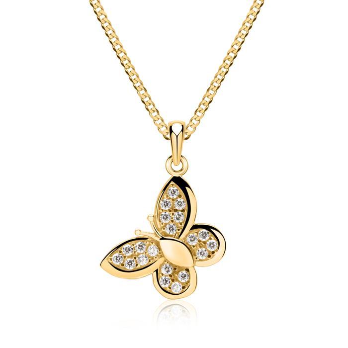 333er Anhänger Gold Schmetterling Zirkonia