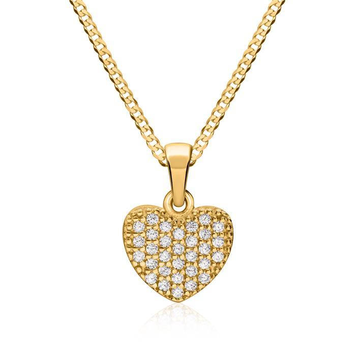 Anhänger 333er Gold Herzform Zirkonia