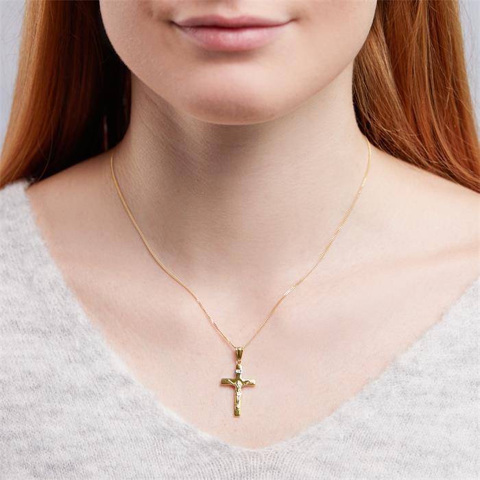 Anhänger Kreuz Jesus Gelbgold Weißgold