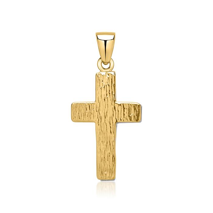 Kreuzförmiger Anhänger 333er Gold Bicolor