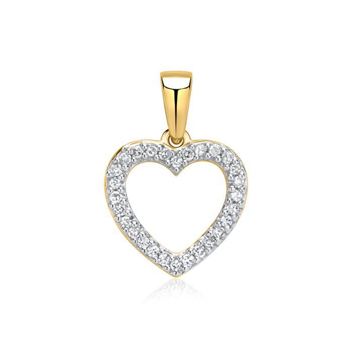 Gold-Anhänger Herzmotiv 585er Gold Diamanten