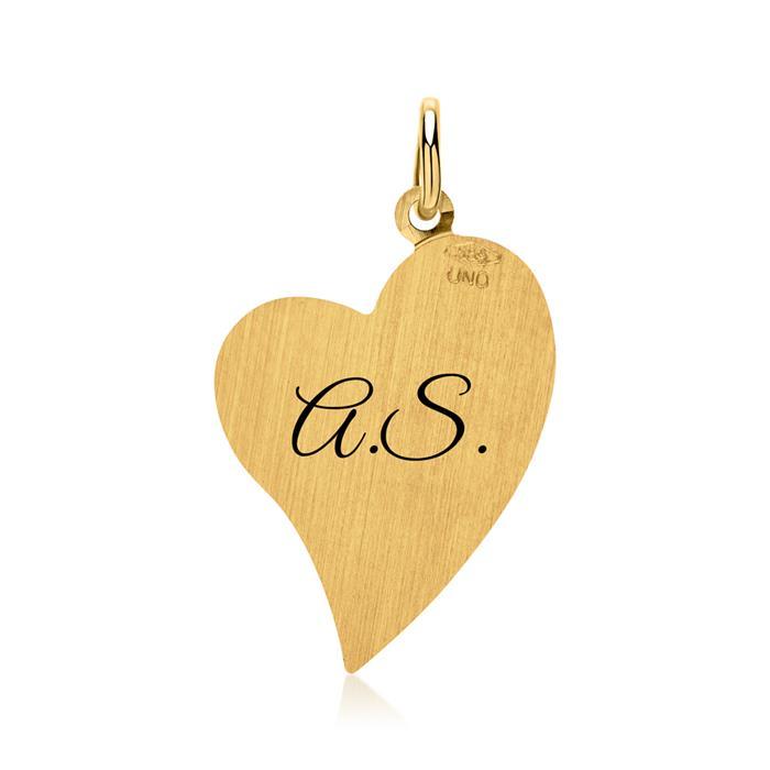 Kette gravierbarer Herz-Anhänger 585er Gold