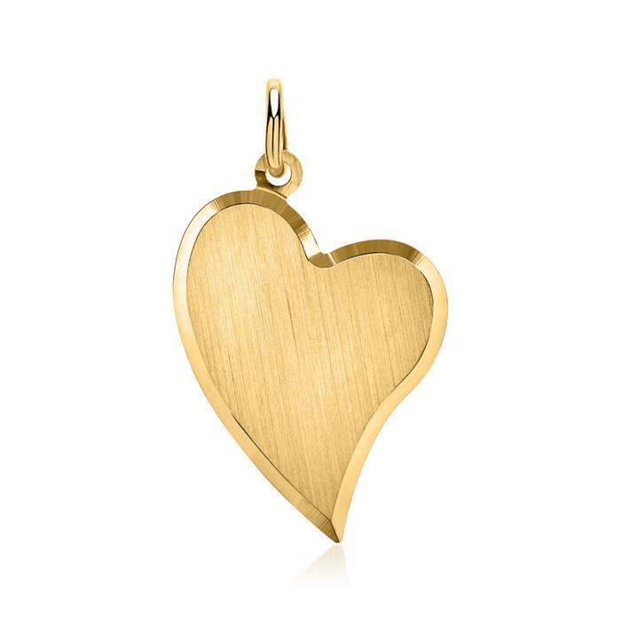 Teilpolierter Gold-Anhänger Herz 333 Gold