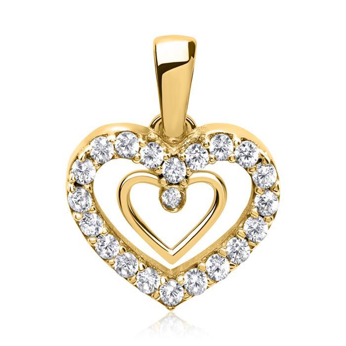 333er Goldkette mit zwei Herzen Zirkonia