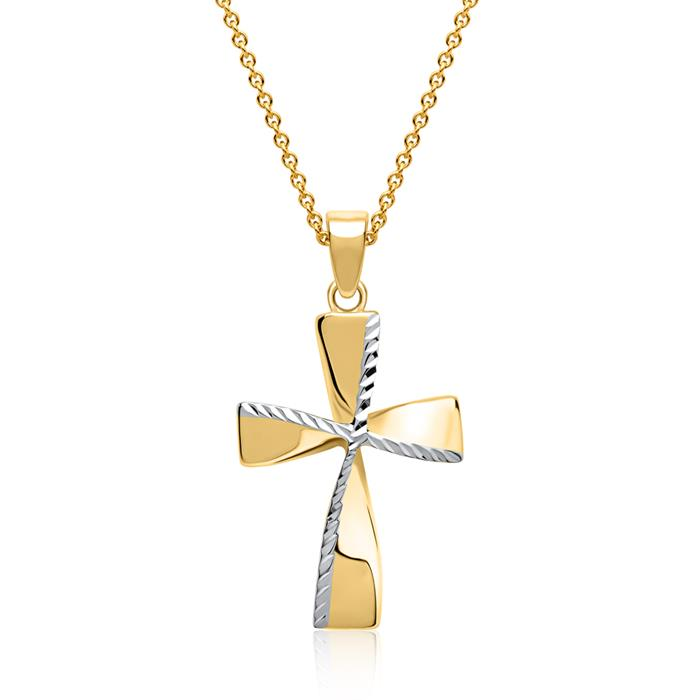Kreuz Anhänger bicolor 333er Gold