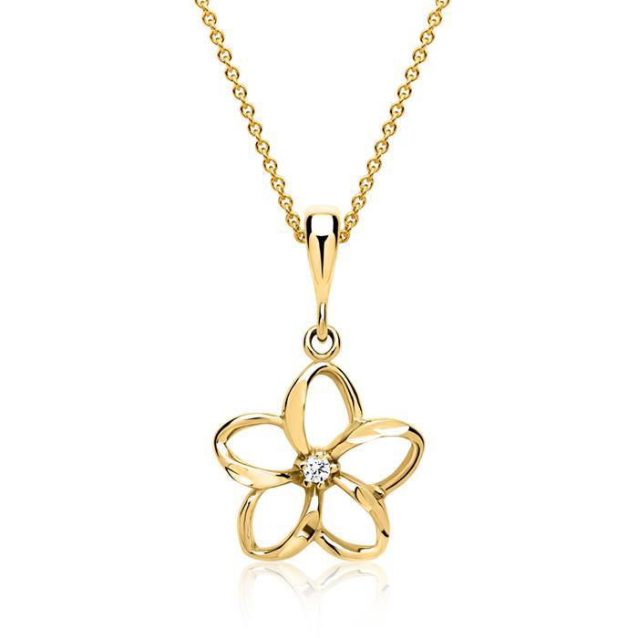 333er Gold Anhänger Blume mit Zirkonia Stein