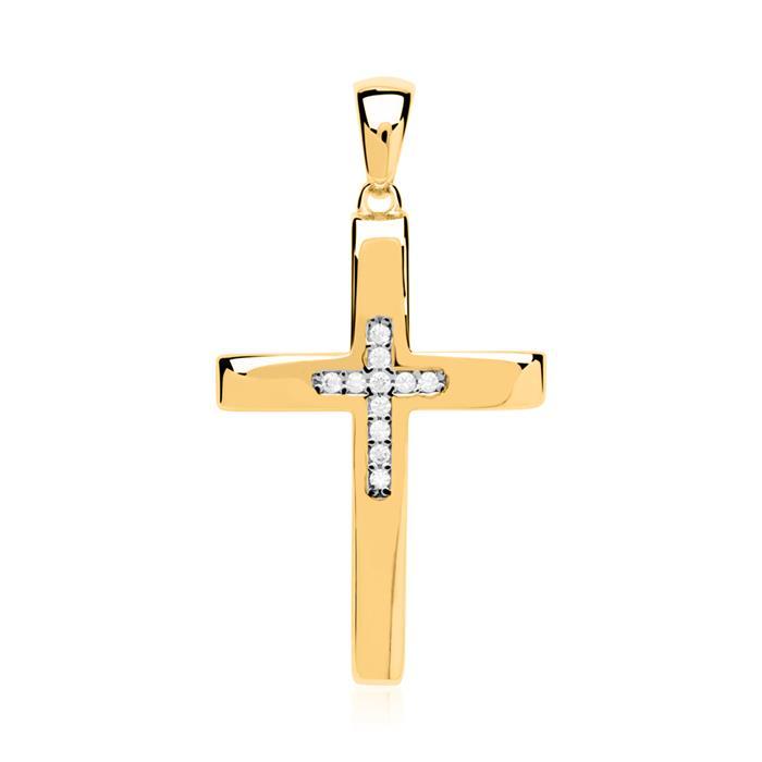 333er Gold Anhänger Kreuz mit Zirkonia