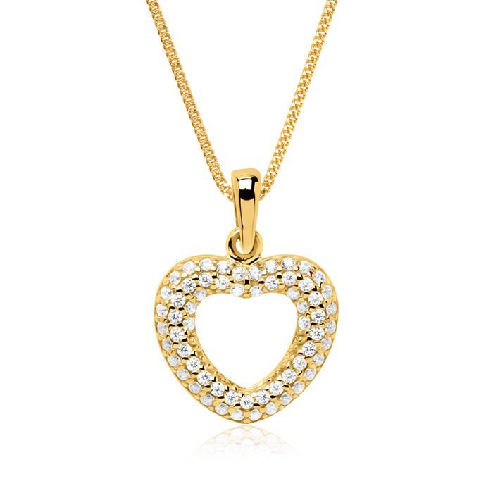 8K Goldanhänger Herz mit weißen Zirkoniasteinen