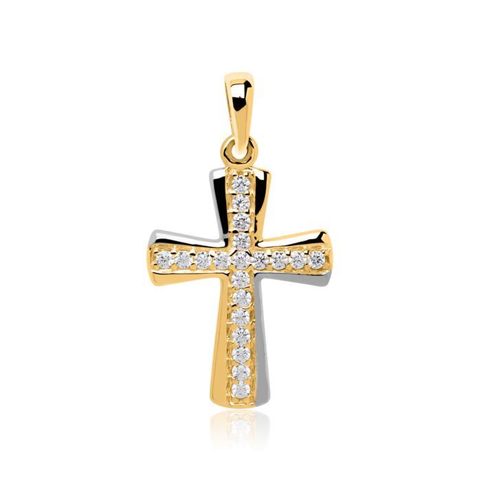Kreuzanhänger aus 8K Gold mit Zirkonia