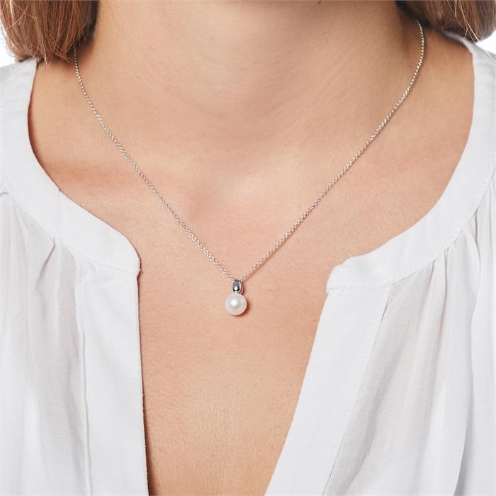 Halskette aus 585er Weißgold mit Süßwasserperle