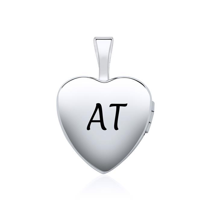 Medaillon Herz aus 14K Weißgold gravierbar