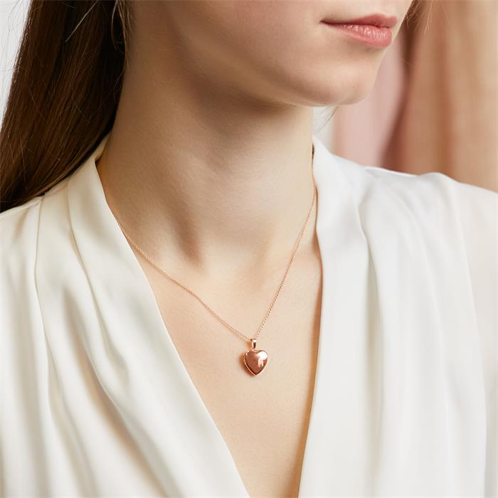 Kette mit Herz Medaillon aus 14K Roségold gravierbar