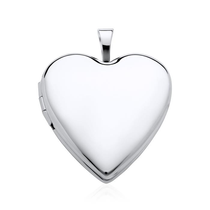 14K Weißgold Medaillon Herz aufklappbar gravierbar