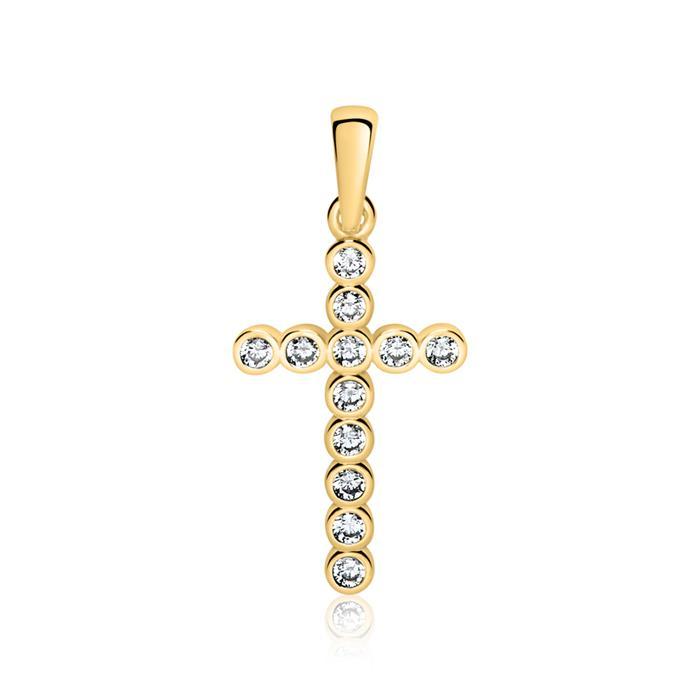 Kreuzanhänger aus 9K Gold mit Zirkonia