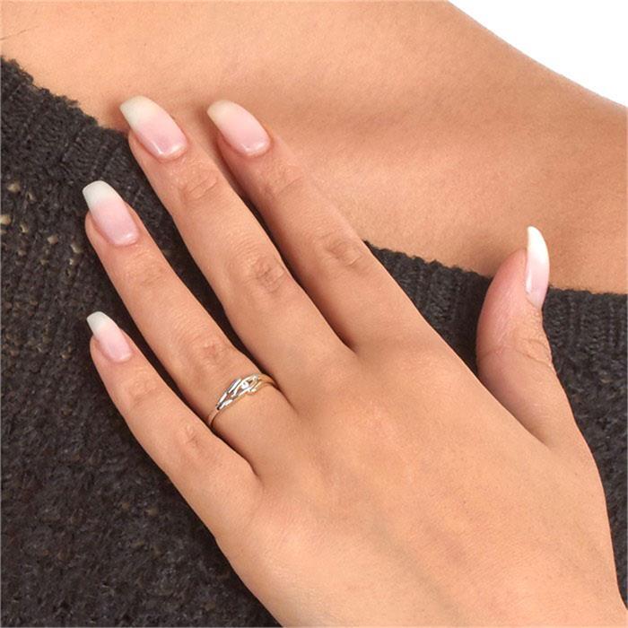 Polierter 333 Gelb- Weißgold Ring mit Zirkonia