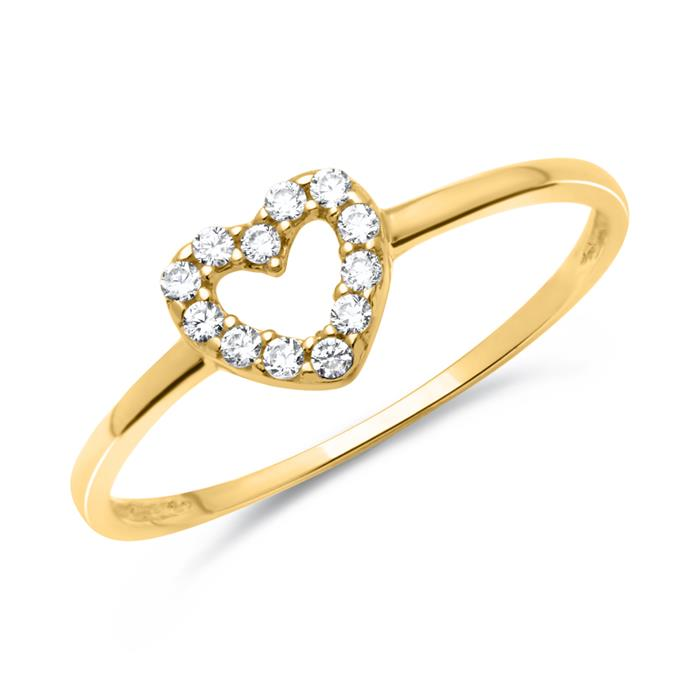 Filigraner Herzring aus 333er Gold mit Steinen
