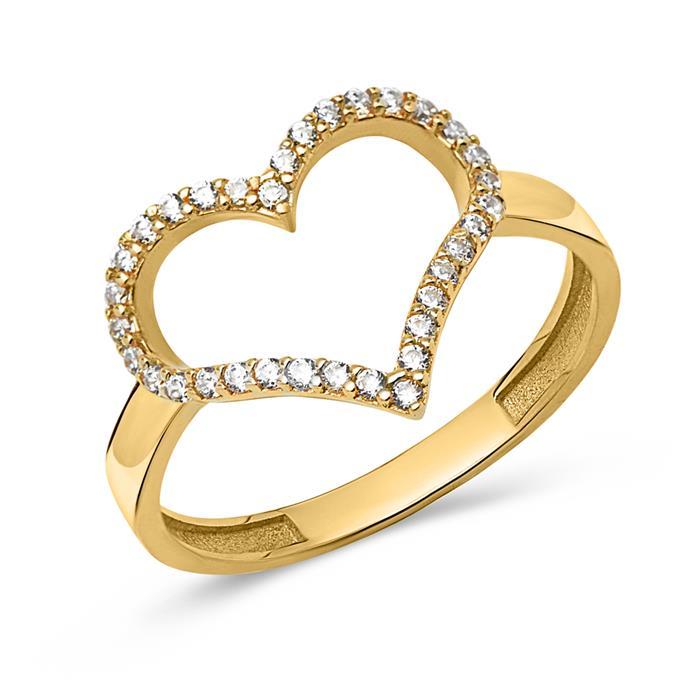 333er Echtgold Herz Ring mit Zirkoniabesatz