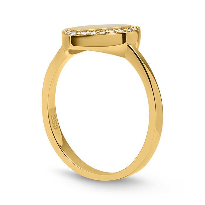 333er Echtgold Herz Ring poliert Zirkoniabesatz