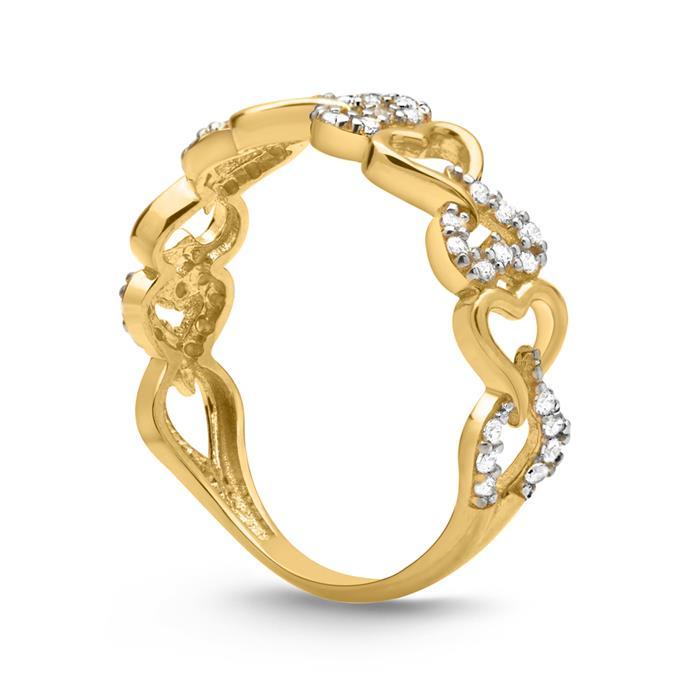 333er Gold Ring Verschlungene Herzen Zirkonia