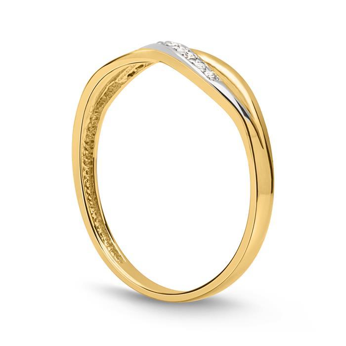 333er Goldring silber gold twist Zirkonia