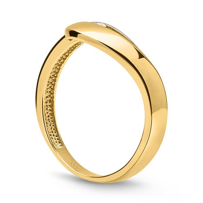 Schicker Ring 333er Gold bicolor mit Zirkonia