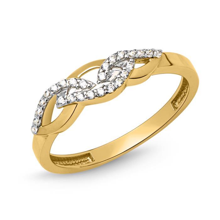 Ring 333er Gold verschlungen mit Zirkonia