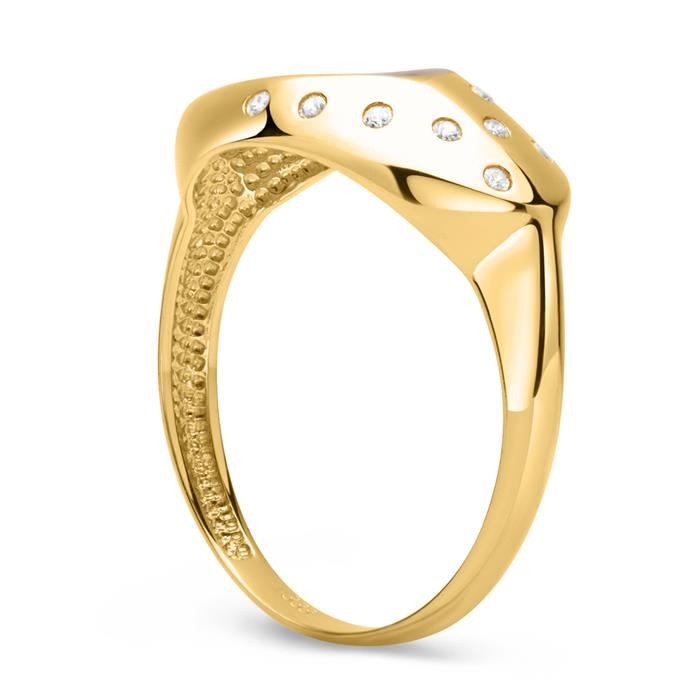 Schicker bicolor 333er Gold Ring Zirkonia