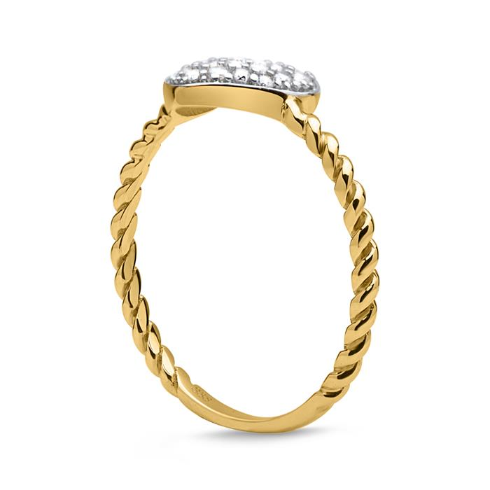 Eleganter Ring 333er Gold mit Herz aus Zirkonia