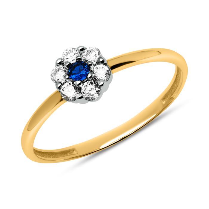 333er Goldring mit Zirkonia in Blau und Weiß