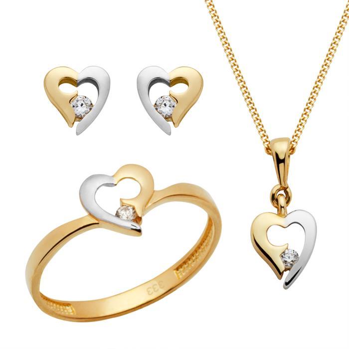 333er Gold Set Ohrringe Ring Kette mit Anhänger