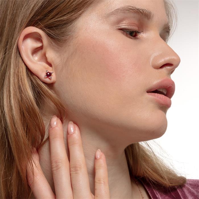 Damen Ohrstecker Farbige Steine aus 925er Silber, rosé