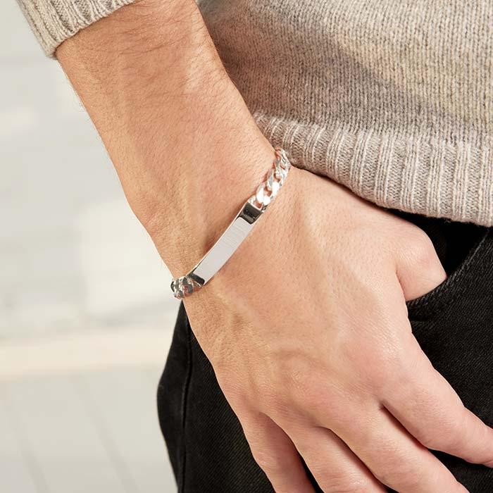 7,5mm 925 Silber Armband Gravur