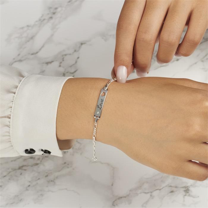925er Silber Armband, gravierbar mit Diamant
